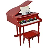 LIUFS-キーボード 子供のおもちゃ小さなピアノ30キーフリップはシミュレーションピアノ木3-6歳を再生できます (Color : 赤)