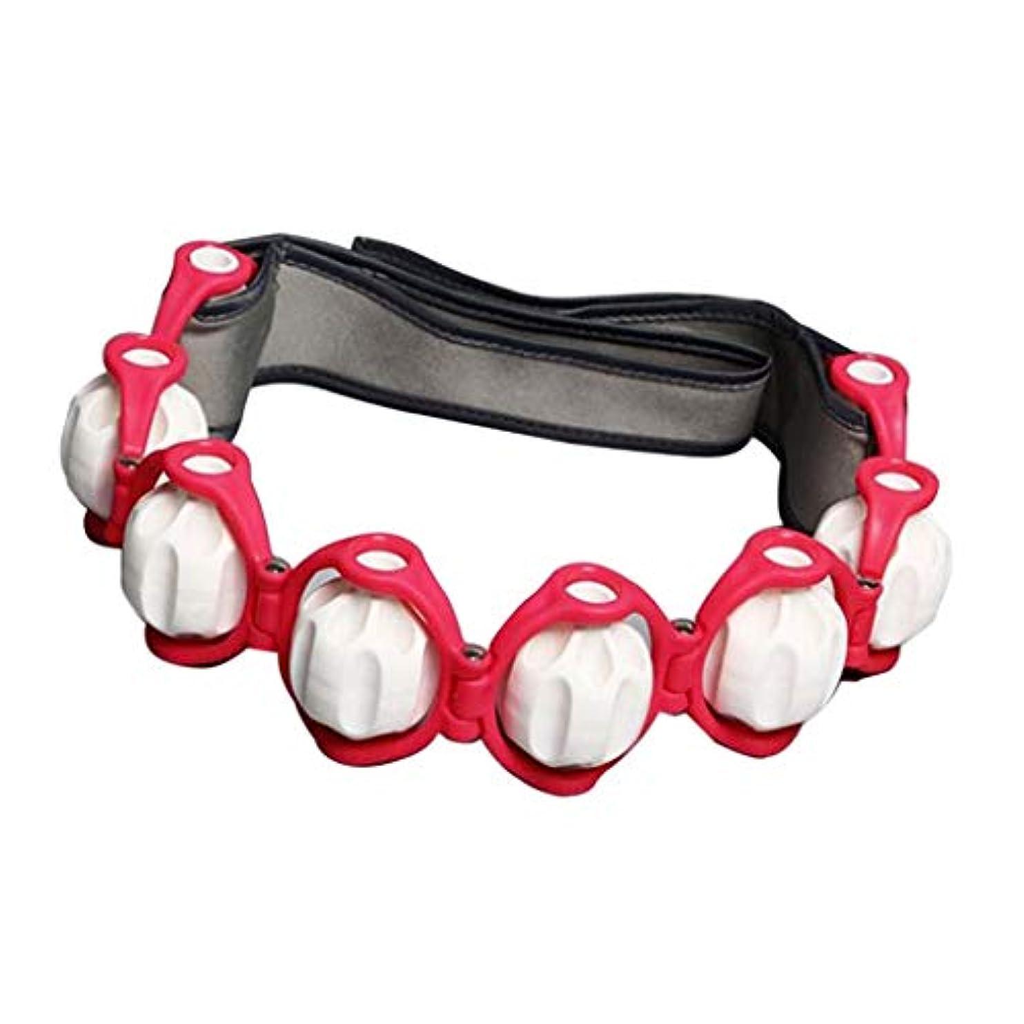 グレー意味のある立派なマッサージローラー ロープ付き ツボ押し ボディマッサージ 筋肉マッサージ 4色選べ - 赤