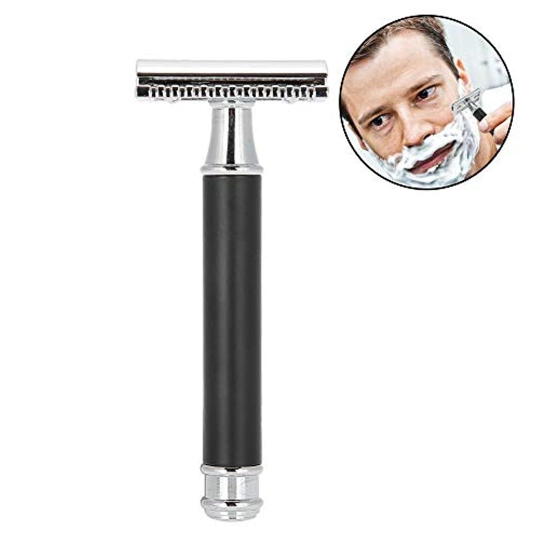 ジャンル途方もない追い払う手動メンズシェーバー 金属クラシックレイザー 両刃カミソリ 安全 防水肌に優しく 使いやすい 快適な剃り