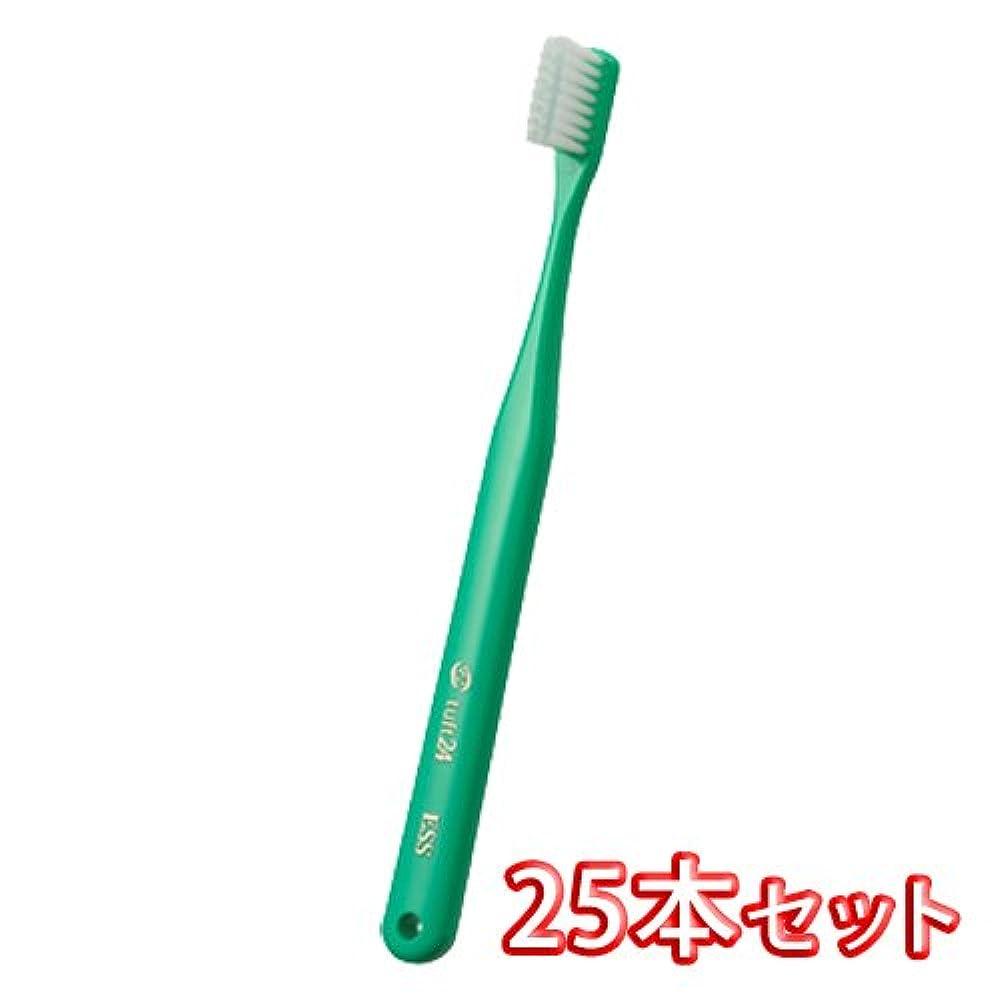 漫画ミシン目で出来ているオーラルケア キャップ付き タフト 24 歯ブラシ 25本入 ミディアムハード MH (グリーン)