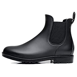 Fine Too レディース&メンズ レインブーツ レインシューズ オシャレ 雨靴 シンプル 無地 サイドゴアレインブーツ 快適 防水 耐滑 ショートブーツ (23.0cm, ブラック)