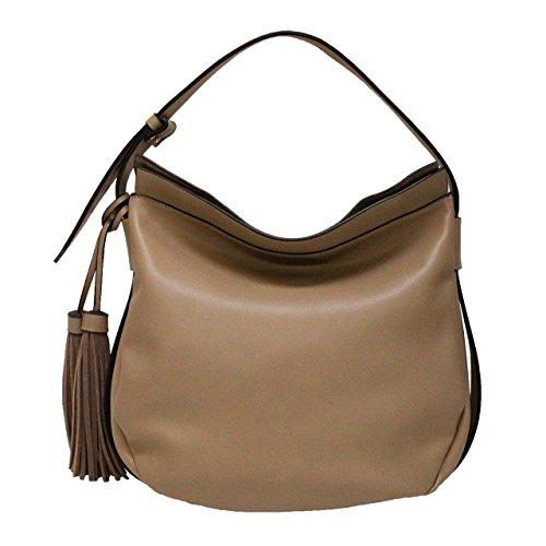 [Mia Borsa] フェイクレザー ワンショルダーバッグ レディース 軽量 大容量 合皮 PU leather bag トープ