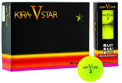 キャスコ(Kasco) ゴルフボール KIRA キラスターV ユニセックス KIRASTAR V イエロー 1ダース(12個入り)