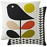 "Filled Orla Kiely Early Bird Orange Green 18"" 45CM Feather Cushion Throw Pillow CASE"