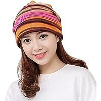 OVERMAL Women's Stripe Hat Ruffle Cancer Hat Beanie Turban Head Wrap Cap