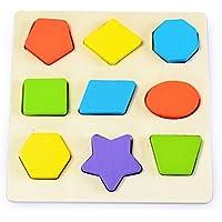 Moobom 木のおもちゃ型はめ パズル 形合わせ 積み木知育玩具 幾何学認知 …