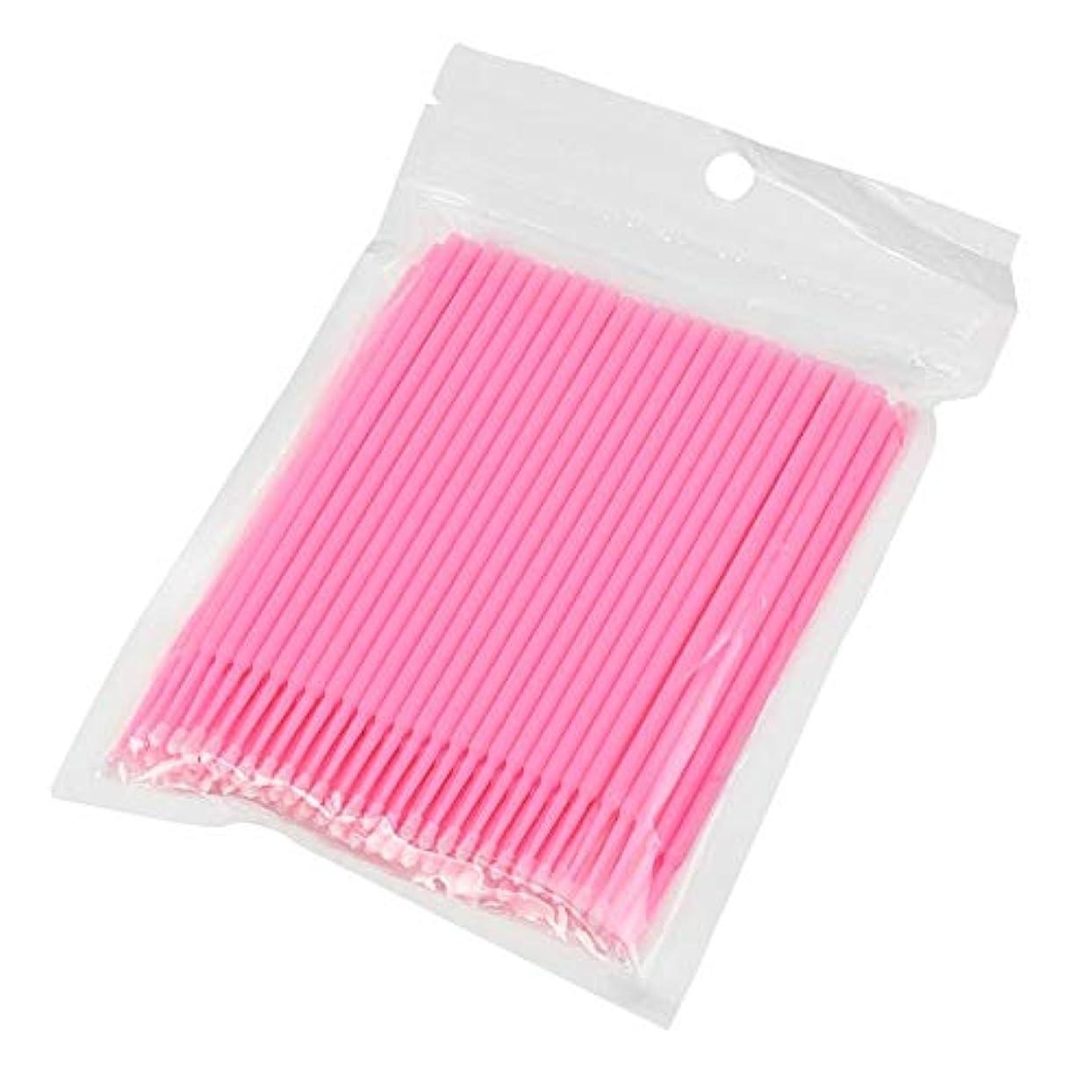 機構サイドボードサイレン100ピース使い捨てマイクロブラシ綿棒アプリケーターチューブ用まつげエクステンション接着剤除去まつ毛グラフトツール(Color:Pink)