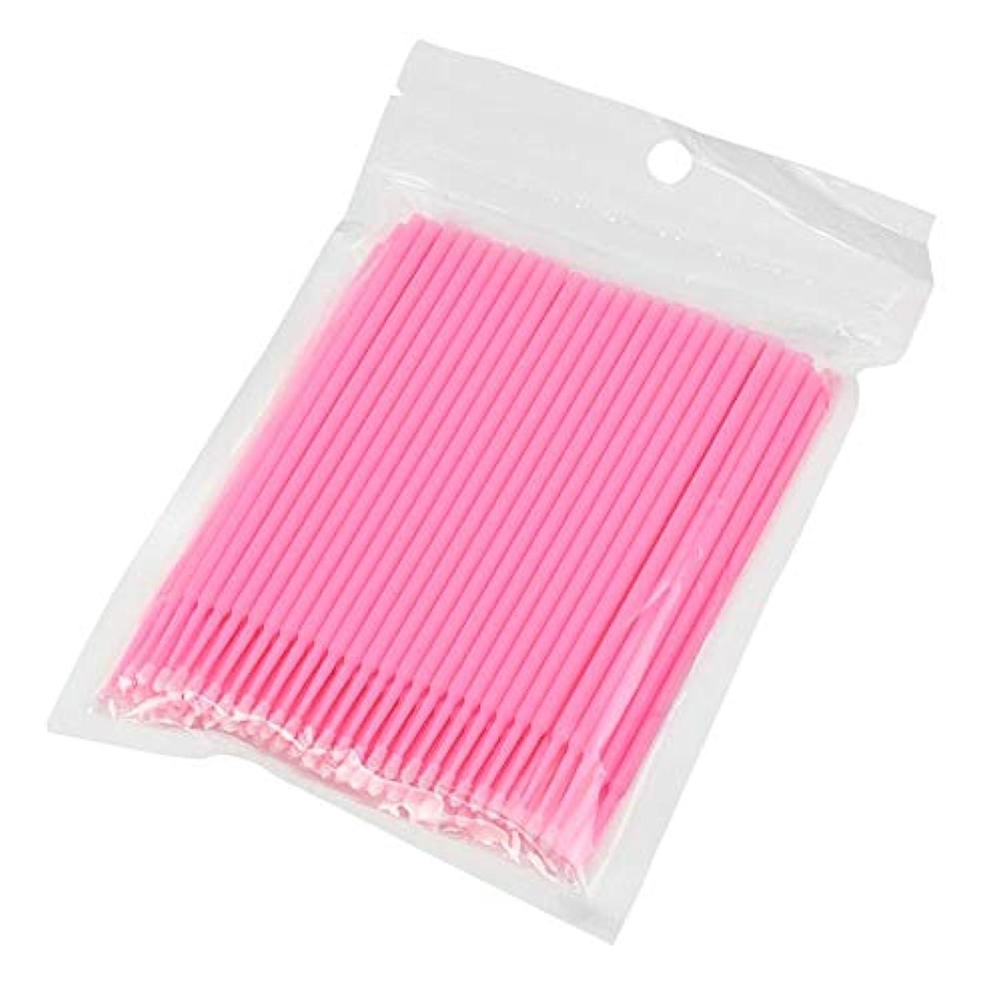見せます雪だるまを作る揃える100ピース使い捨てマイクロブラシ綿棒アプリケーターチューブ用まつげエクステンション接着剤除去まつ毛グラフトツール(Color:Pink)