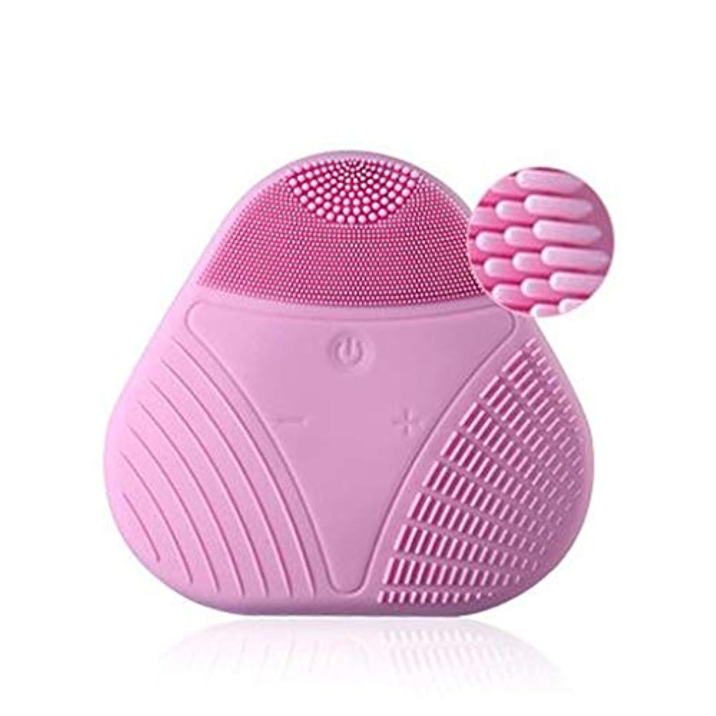 累計テロリスト準拠電気シリコーンクレンジング器具、シリコンポータブルUSBフェイシャルマッサージャーウォッシュフェイスビューティーインストゥルメントディープエクスフォリエイティングジェントル&クレンジングフェイシャル (Color : Pink)