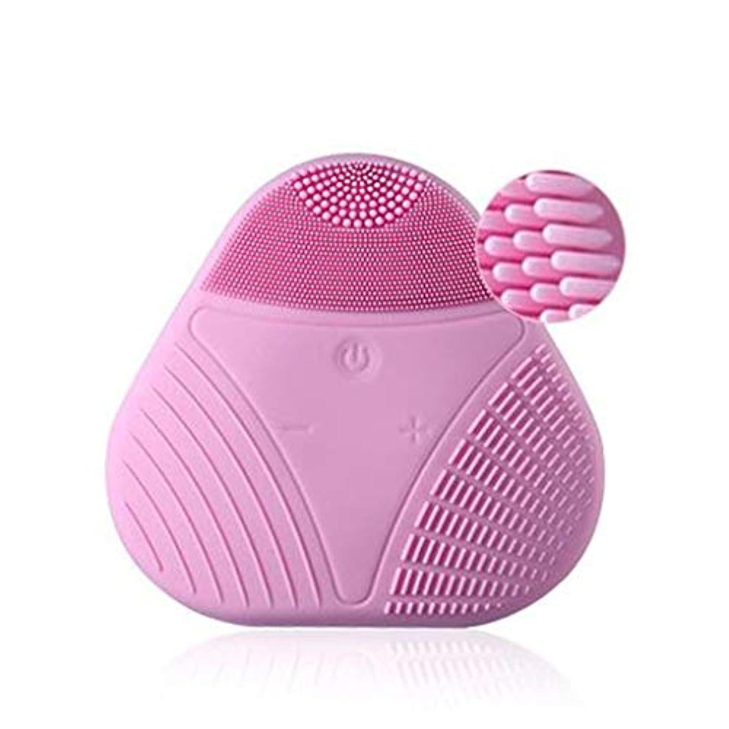 シャイスケッチ忌避剤電気シリコーンクレンジング器具、シリコンポータブルUSBフェイシャルマッサージャーウォッシュフェイスビューティーインストゥルメントディープエクスフォリエイティングジェントル&クレンジングフェイシャル (Color : Pink)