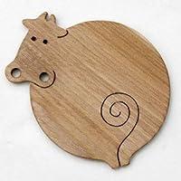 ●のんびり牛 (遊び心いっぱいの木のコースター木のおもちゃ)ヒーリング