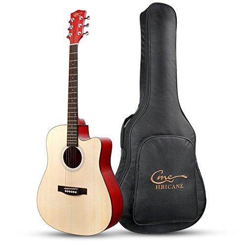 Hricane アコースティックギター/アコギ フォークギタータイプ プロ・初心者対応 フルサイズのギター 音がより甘い バック付き JPGU-2(41インチ 原木色)