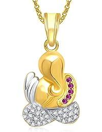 Amaal大人の神ガネーシャGanpatiペンダントチェーン付きゴールドメッキでアメリカのダイヤモンドジュエリー