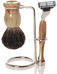 髭剃りセット、ホルダー、グレー?オジャー?ブラシ、カミソリ- Hans Baier Exclusive