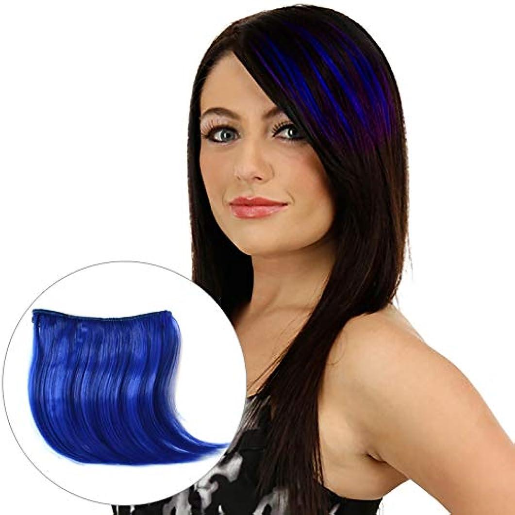 脇に憲法昇進WTYD 美容ヘアツール カラーグラデーション見えないシームレスヘアエクステンションウィッグピースストレートヘアピースカラーバンズヘアピース (色 : Sapphire Blue)