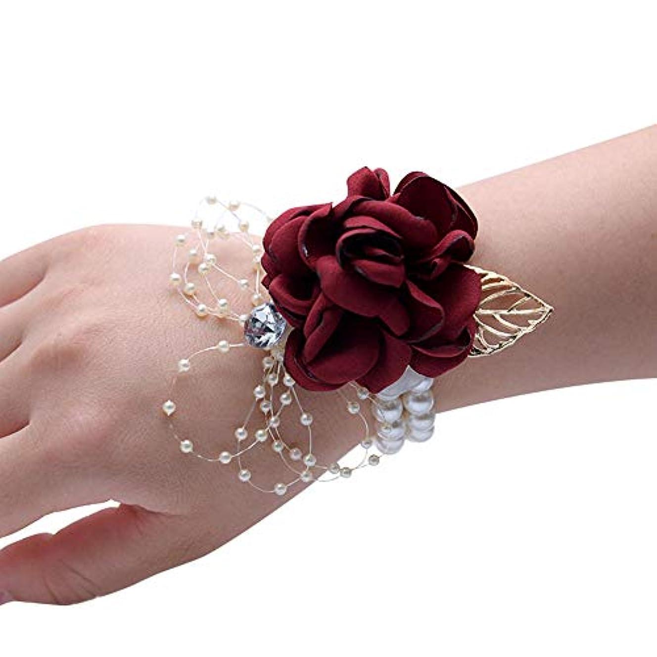 やりすぎ活気づく知るMerssavo 手首の花 - 女の子チャーム手首コサージュブレスレット花嫁介添人姉妹の手の花のどの真珠の結婚式、ワインレッド