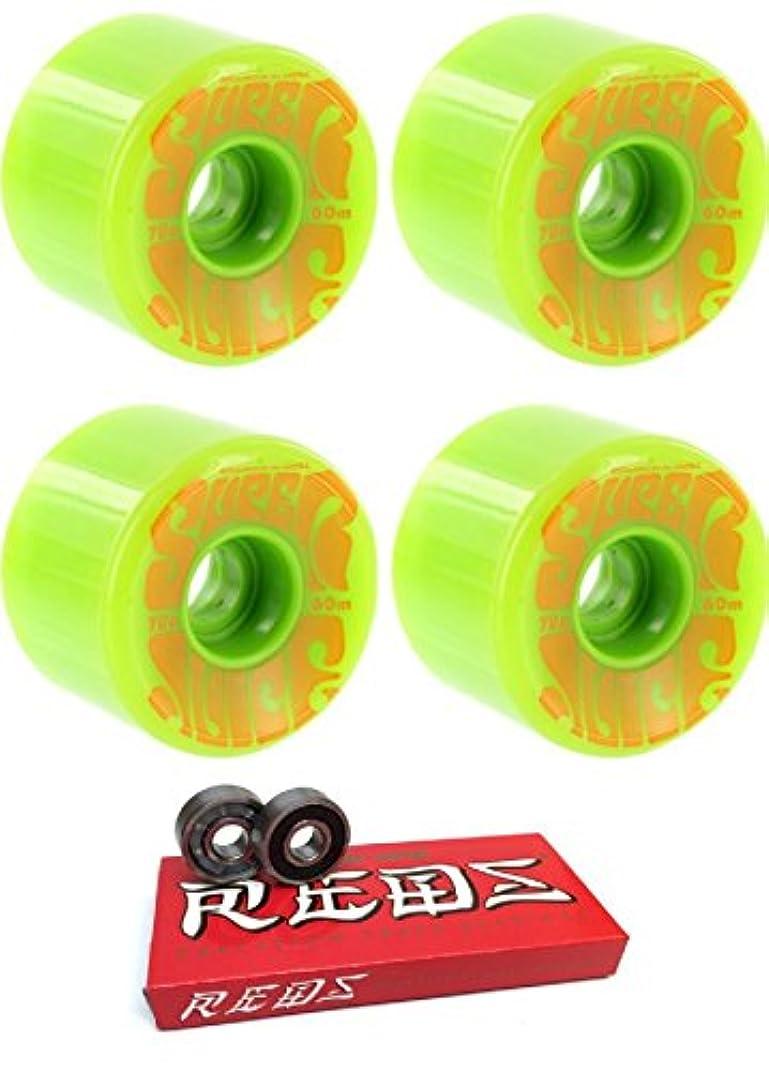 にやにや調整可能自信がある60 mm OJ Wheels SuperジュースLongboard Skateboard Wheels with Bones Bearings – 8 mmスケートボードベアリングBones Super Redsスケート定格 – 2アイテムのバンドル