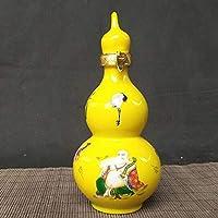 LI FANG セラミック水差しセラミックひょうたんボトル空き瓶クリエイティブ装飾飾り (Color : Yellow)