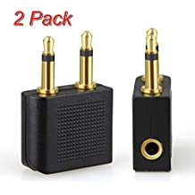 Tersely Airplane Headphone Audio Adapter, [2 Pack] for Audio Jack to Plug Air Plane Connector Dual Socket Headphone Audio Jack Male,Earphone Adaptor 3.5 mm 1/8 inch Fits Bose Beats