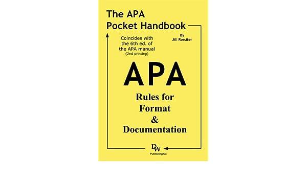 amazon the apa pocket handbook rules for format documentation