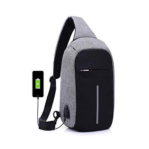 1stモール バッグ ショルダーバッグ ボディバッグ USBポート付 イヤホン穴設計 斜め掛け 盗難防止 ブラック グレー ST-ILLBEBAGG-GY
