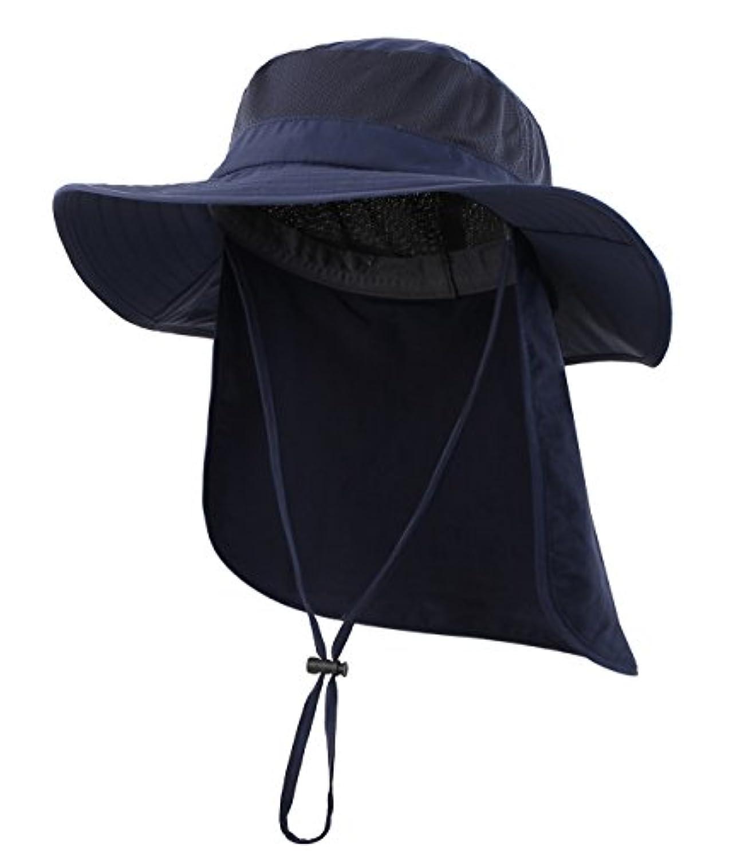 表示持参閲覧する(コネクタイル)Connectyle アウトドア ユニセックス UPF50+ メッシュ サファリハット つば広 日焼け防止 農作業 帽子 UVカット ハット