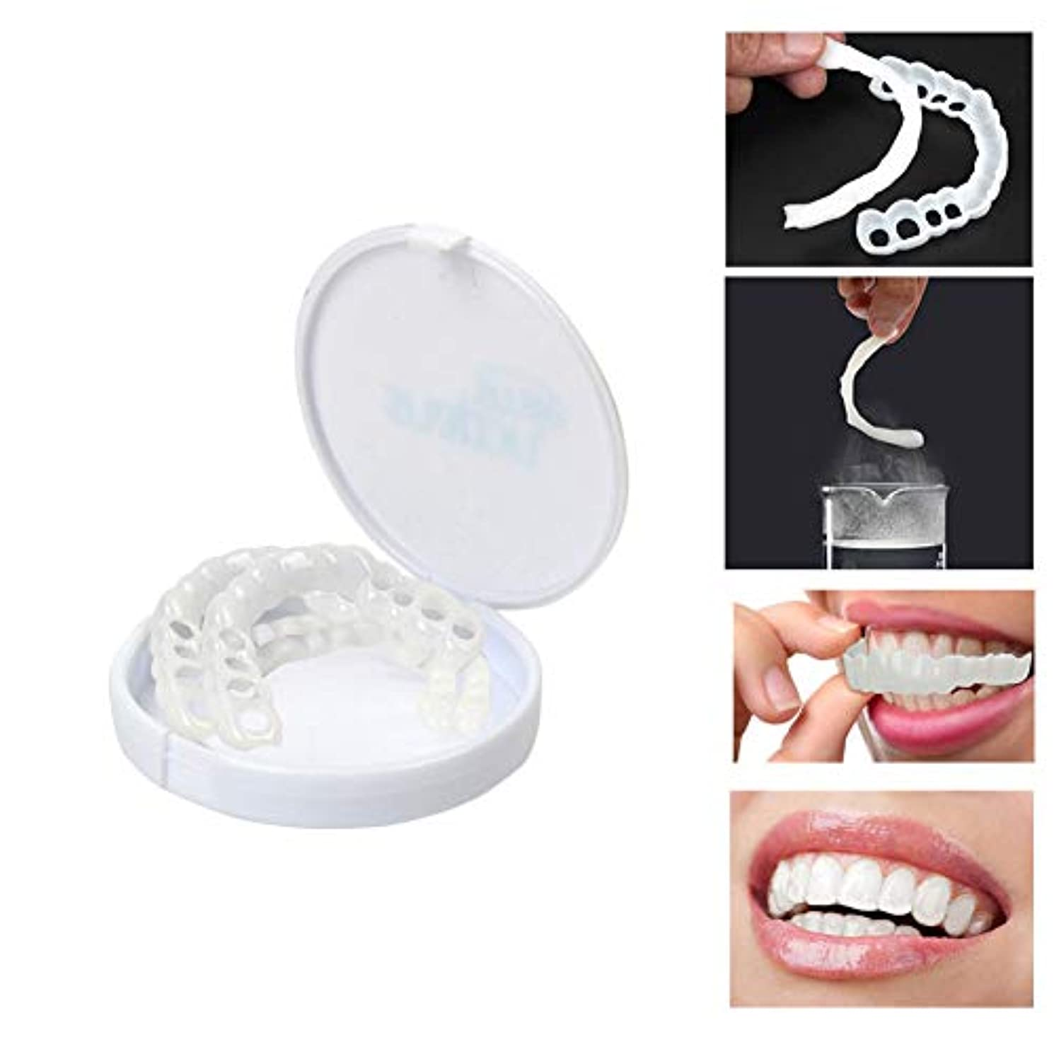 奇跡絶望スリットRabugoo 歯を白くする歯が完全な笑顔を覆う快適なフィットフレックス歯ベニア上の歯+下歯のセット