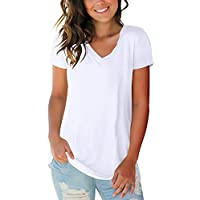 liher Women's Casual Tops Color Block V-Neck T Shirt with Suede Pocket