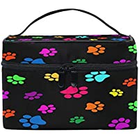 Toprint Large Makeup Bag Organizer Colorful Dog Cat Paw Print Cosmetic Case Bag Toiletry Storage Portable Zipper Pouch Travel Brush Bag for Women Lady