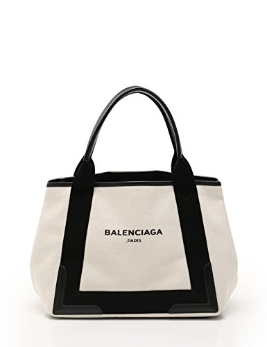 (バレンシアガ) BALENCIAGA ネイビーカバ S トートバッグ キャンバス レザー アイボリー 黒 339933 中古