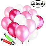 SWZY 風船 25CM 誕生日 飾り付け 風船 光沢 バルーン 約300個 誕生日 結婚式 飾り 装飾 空気ポンプ付き(レッド、ピンク、ホワイト)
