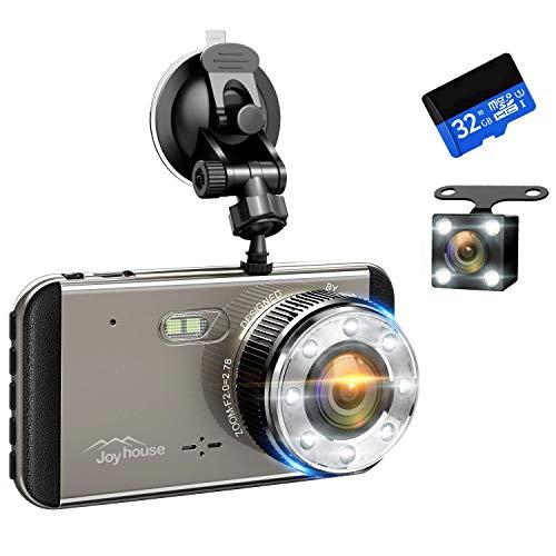 【2019進化版&フルHD1296P】 ドライブレコーダー 前後カメラ 32GB SDカード付き デュアルドライブレコーダー 1800万画素 170°広視野角 G-sensor WDR ドラレコ 4.0インチモニター ループ録画 リアカメラ付き 日本語説明書付き (recorder)