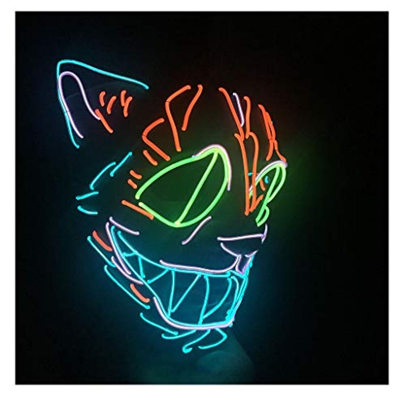 気取らない愛情北東怖いマスクハロウィンコスプレ-コスチュームマスクライトアップフェスティバルパーティー用LEDマスクブルー,赤