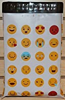 10 x 13 ( 100パック)絵文字Poly Mailers Silly Faces Premium Unique Designed Shipping封筒