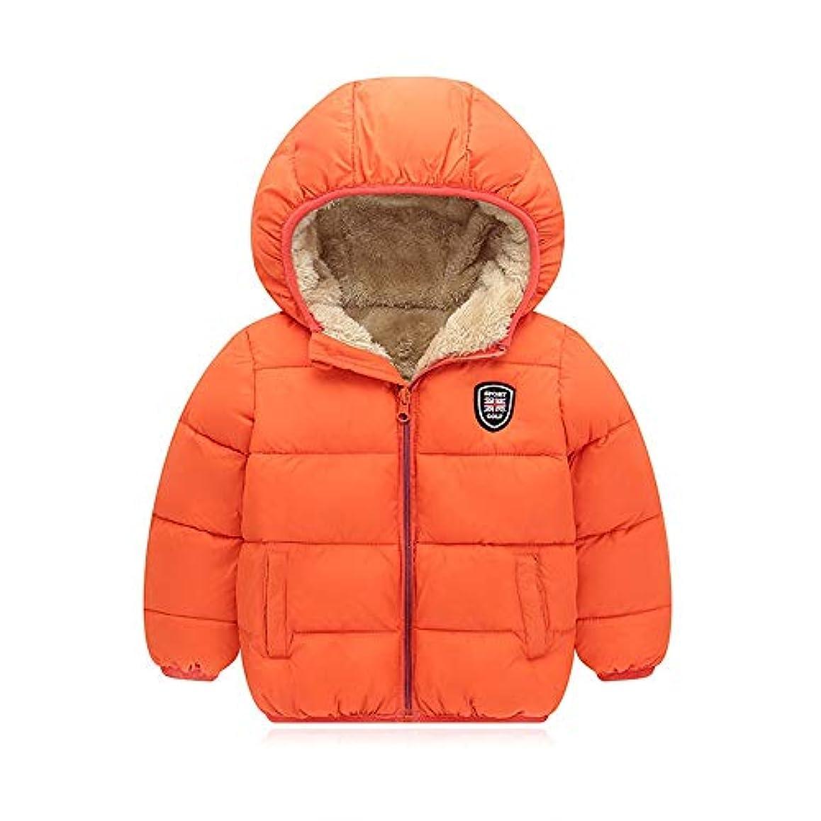 かみそり信じられない警察ベビーコート フードコート暖かい厚手の冬のコートのジャケットで男の赤ちゃんの女の赤ちゃんフード付きジャケット (Color : Orange, Size : 130cm)