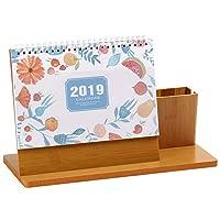 カレンダー 2018-2019年 卓上 カレンダー卓上 30*18cm かわいい 紙質 木質 記録時間 筆立てを持って 新年のプレゼント 家用 オフィス用 装飾品 贈り物 オフィスデスクトップ 手帳 (果物)