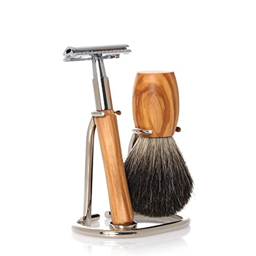 GOLDDACHS Shaving Set, Safety razor, 100% badger hair, olive wood