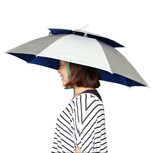 ユニークモール(UniqueMall)傘 ぼうし 釣りパラソル スポーツ観戦 日傘 折り畳み傘 フィッシングツール 折りたたみ傘帽子 釣り用傘 耐風撥水 晴雨兼用 かぶる傘 釣り帽子