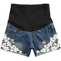夏の妊婦ショーツジーンズ女性 - 妊娠中のレースデニムパンツズボン Trousers Jeans for Pregnancy Zhhlaixing