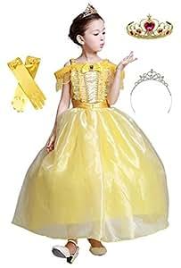 (eones)美女と野獣 風 ベルドレス ロング プリンセスドレス キッズ 子供用 ふんわり しっかり3層構造 グローブ ティアラ2個セット(120)