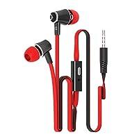 耳に携帯電話ヘッドセット小麦のMP3コンピュータヘッドセット、スタイリッシュな色鮮やかなオリジナルヘッドセットマイクサブウーファーイヤホン・ブルー、色名:オレンジ (Color : Red)