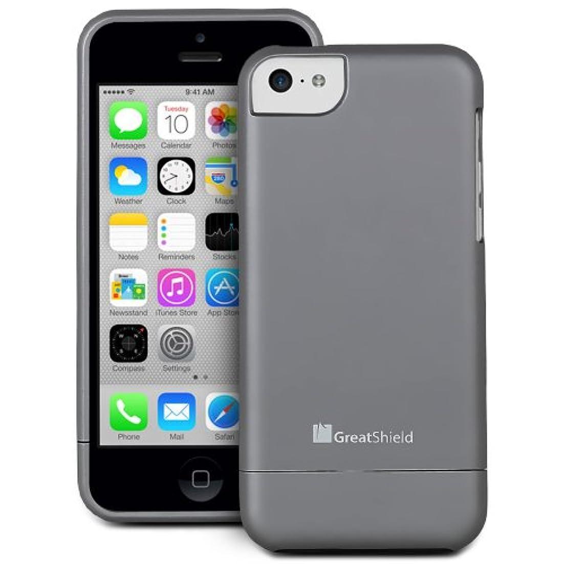 アンビエントそこから酸素GreatShield 【iPhone 5c対応スリムフィットポリカーボネートハードコーティングケース】 iSlide Dock-Friendly Slim-Fit Case グレー GS03279