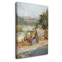 村 道路 壁の絵 インテリアパネル キャンバス絵画 玄関 木枠付きの完成品 プレゼントに 芸術の絵画 軽くて取り付けやすい(30x40cm)