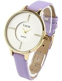 腕時計 レディース ラインストーン ラウンドウォッチ レザー Lucio RK15 (ゴールド×パープル)