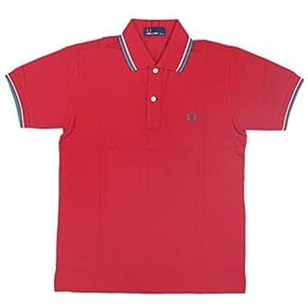 (フレッドペリー) FRED PERRY F1102-514 POLO SHIRTS ポロシャツ レッドxカプリブリーズxエクリュ FP007 S
