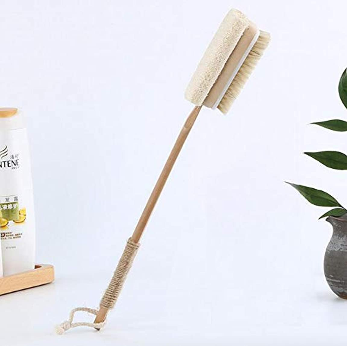 材料献身長方形バスブラシ、長い木製ハンドルドライブラシボディブラシバスブラシ長いハンドル、皮膚やセルライトを剥離するため、ウェットまたはドライ使用