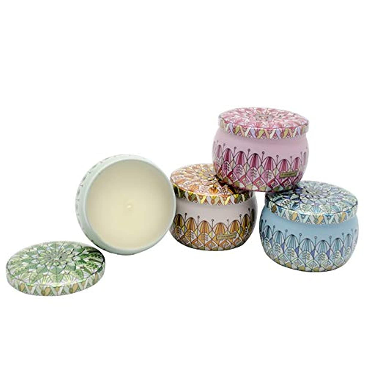 しない天文学可塑性ティンキャンドル ジオメトリ柄缶 4本セット アロマキャンドル バニラ&琥珀 シーウィンド&ブロッサム ホワイトアジサイ オレンジブロッサム