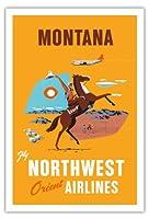 モンタナ - 飛行 ノースウエスト・オリエント航空 - 馬に乗ってカウボーイ - ビンテージな航空会社のポスター c.1950s - アートポスター - 76cm x 112cm