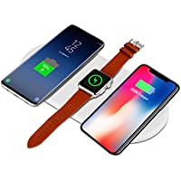XBERSTAR Qiワイヤレス充電器 iPhone X 急速 7.5W 10W 3in1 Apple Watch 3/2 折り畳み式 QC3.0/2.0 iPhone XS/iPhone 8/8 Plus/X / Samsung Galaxy S9/S9+/S8/S8+/Note 8/S7/S7 edgeなどに対応