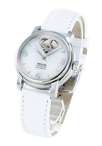 腕時計 ラウンド オープンハート レザー ホワイトシェル 4314HTWHP レディース エポス